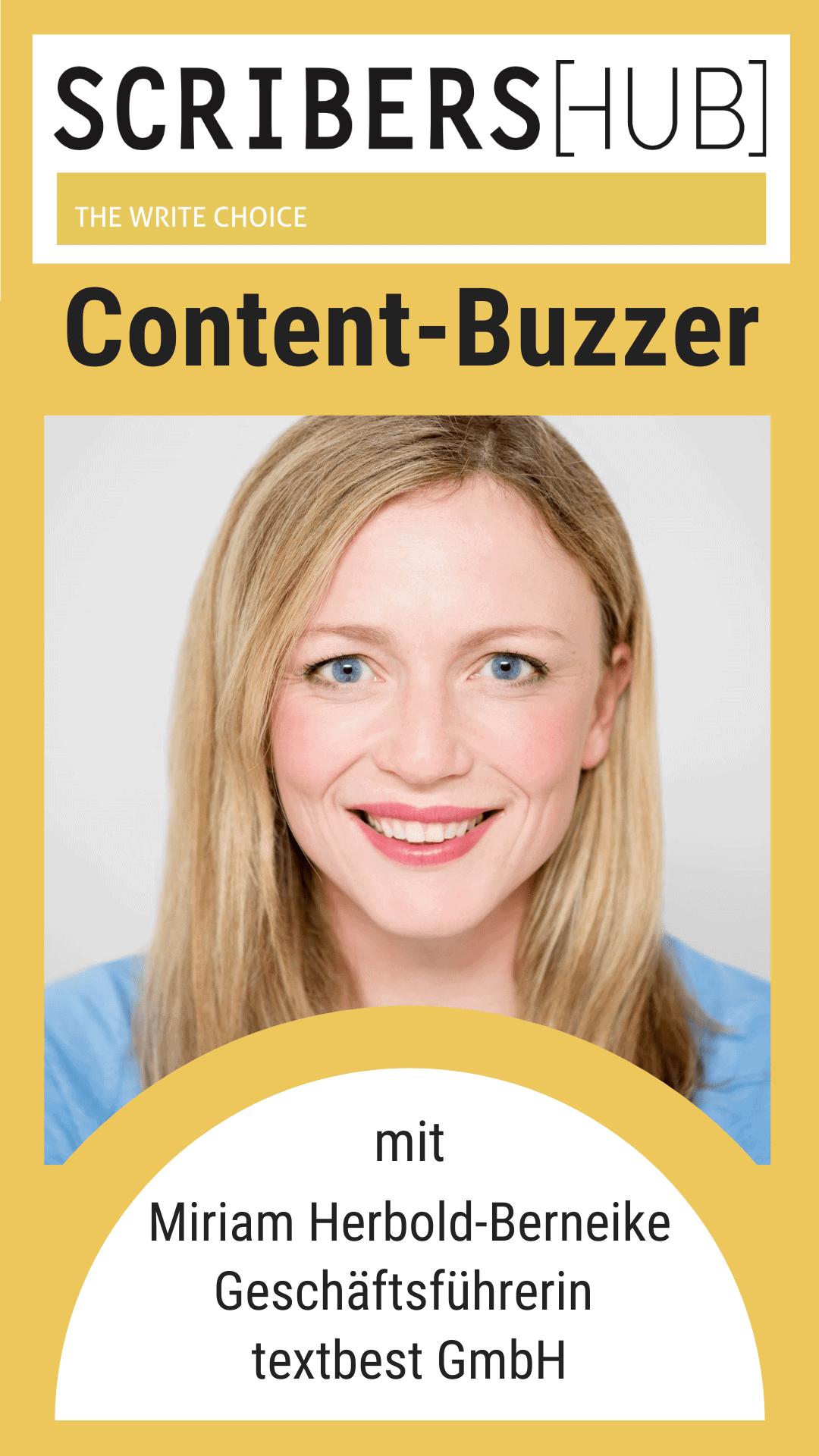 Scribershub Content Buzzer mit Miriam Herbold Berneike