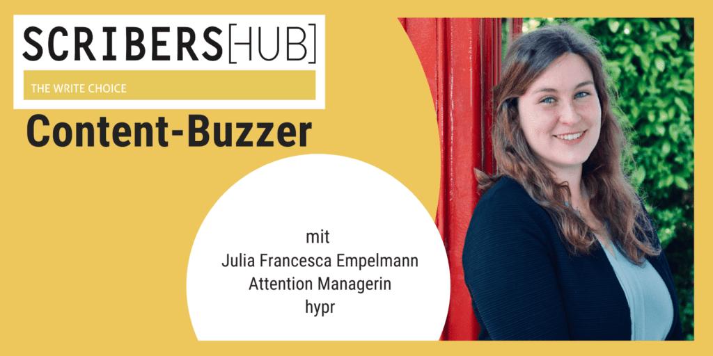 Julia Francesca Empelmann von hypr im Scribershub Content Buzzer